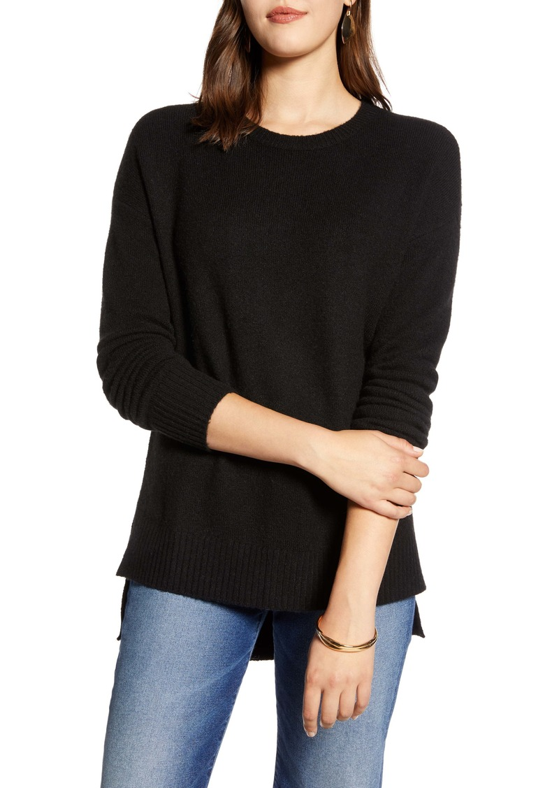Halogen® High/Low Crewneck Tunic Sweater