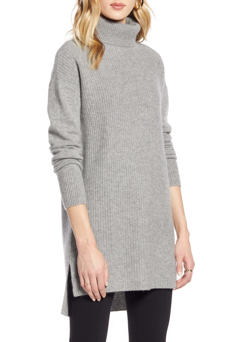 Halogen® High/Low Tunic Turtleneck Cashmere Sweater