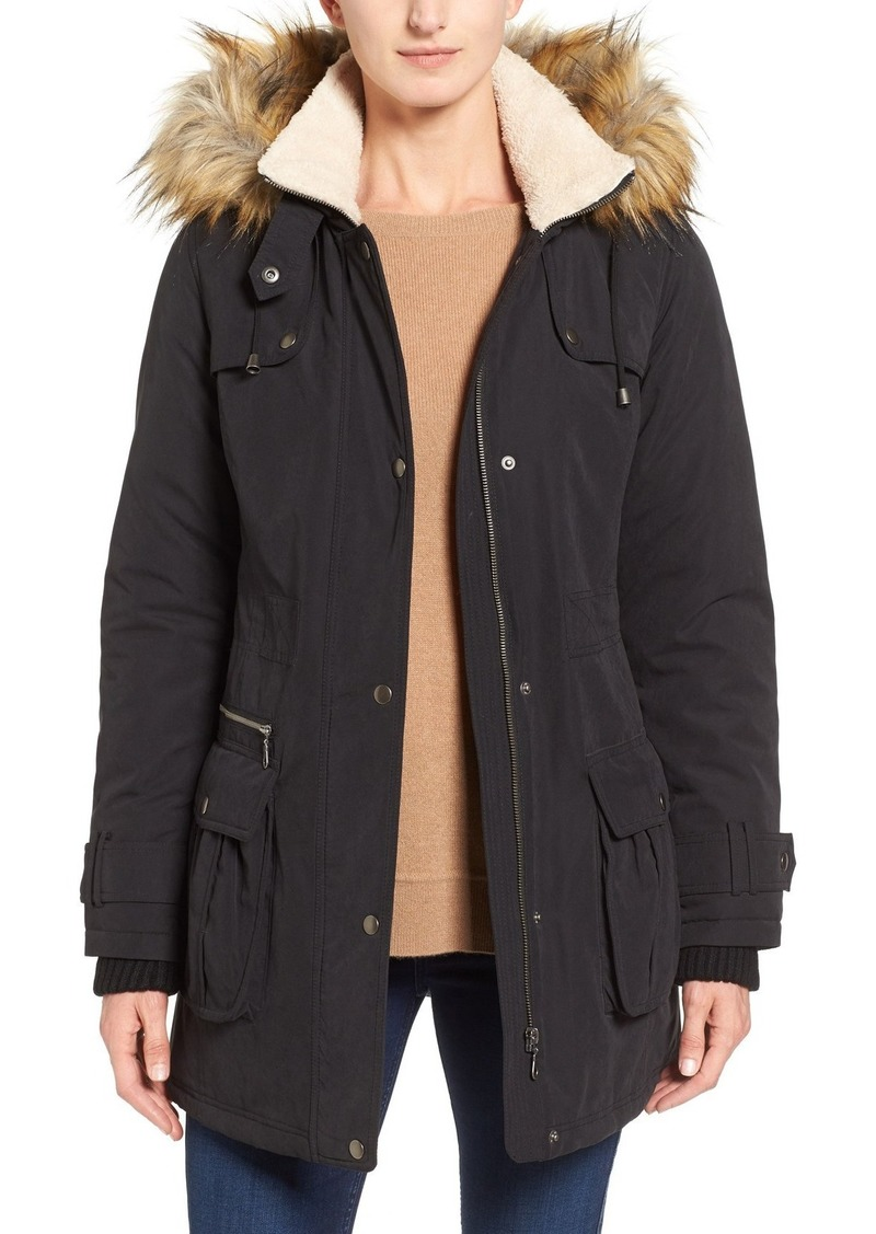 Halogen® Hooded Anorak with Faux Fur Trim (Regular & Petite)