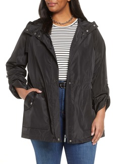 Halogen® Hooded Cinch Waist Rain Jacket (Plus Size)