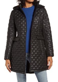 Halogen® Hooded Diamond Quilted Coat
