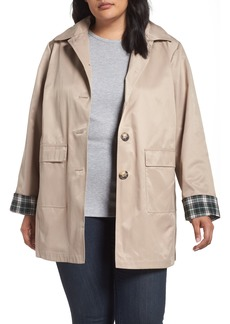 Halogen® Hooded Mac Rain Jacket (Plus Size)