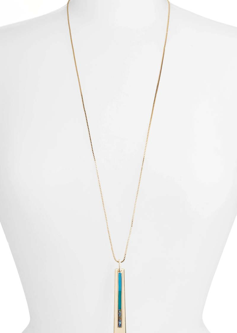 Halogen® Inlay Long Pendant Necklace
