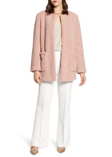 Halogen® Jewel Neck Teddy Coat