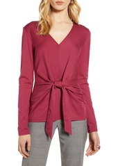 Halogen® Knot Front Ponte Knit Top