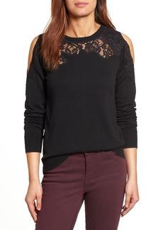 Halogen® Lace Detail Cold Shoulder Sweater (Regular & Petite)