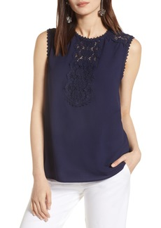Halogen® Lace Detail Stretch Crepe Tank Top