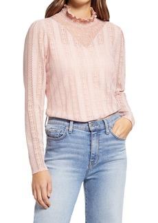 Halogen® Lace Knit Mock Neck Top