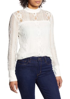 Halogen® Lace Mock Neck Top