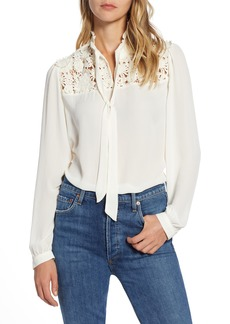 Halogen® Lace Yoke Blouse (Regular & Petite)