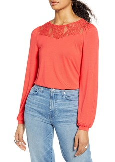 Halogen® Lace Yoke Long Sleeve Knit Top
