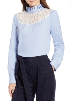 Halogen® Lace Yoke Poplin Pinstripe Blouse (Regular & Petite)