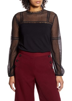 Halogen® Lace Yoke Top