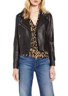 Halogen® Leather Moto Jacket (Regular & Petite)