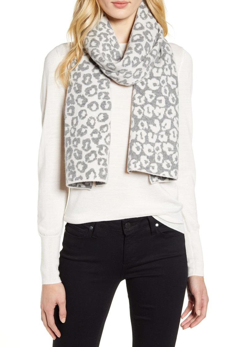 Halogen® Leopard Jacquard Wool & Cashmere Scarf