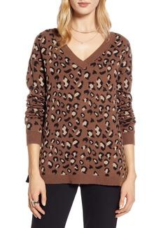 Halogen® Leopard Pattern V-Neck Sweater