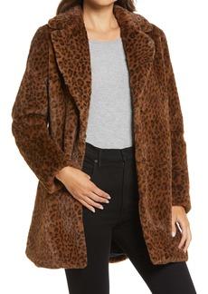 Halogen® Leopard Print Faux Fur Coat