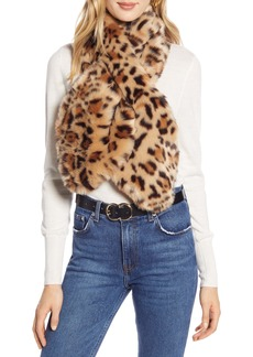 Halogen® Leopard Print Faux Fur Pull Through Scarf