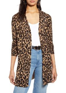 Halogen® Leopard Print Linen Blend Cardigan (Regular & Petite)