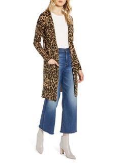 Halogen® Leopard Print Long Cardigan (Regular & Petite)