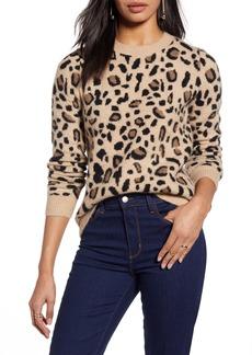 Halogen® Leopard Spot Crewneck Pullover (Regular & Petite)