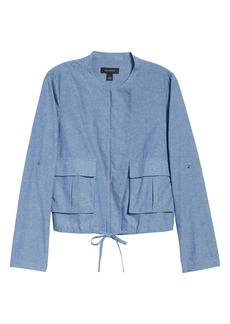 Halogen® Linen Blend Chambray Tie Waist Jacket