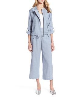 Halogen® Linen Blend Chambray Tie Waist Jacket (Regular & Petite)