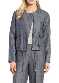 Halogen® Linen Bomber Jacket (Regular & Petite)