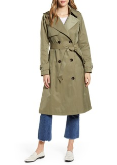 Halogen® Long Double Breasted Hooded Trench Coat