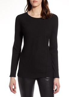 Halogen® Long Sleeve Knit Cotton Tee (Regular & Petite)
