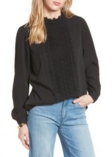 Halogen® Long Sleeve Lace Front Blouse