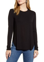 Halogen® Long Sleeve Shirttail Hem