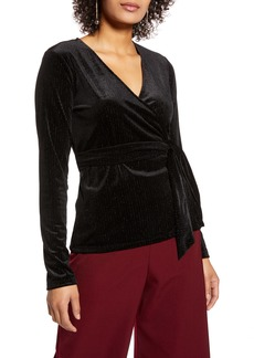 Halogen® Long Sleeve Velvet Wrap Top