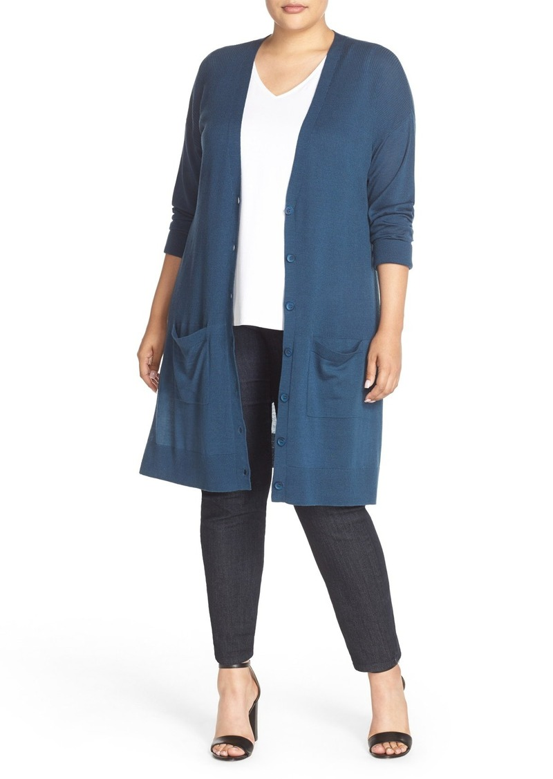 Halogen® Long V-Neck Merino Blend Cardigan (Plus Size)