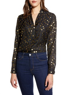 Halogen® Metallic Clip Dot Long Sleeve Blouse