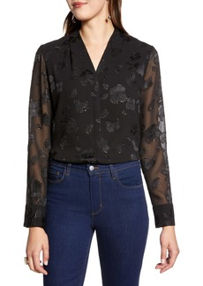 Halogen® Metallic Floral Fil Coupé Blouse