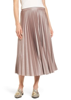 Halogen® Metallic Pleat Midi Skirt (Regular & Petite)