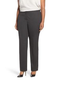 Halogen® Ministripe Stretch Straight Leg Suit Pants (Plus Size)