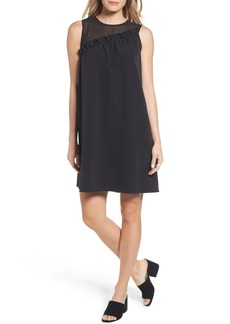 Halogen® Mix Media Ruffle Shift Dress (Regular & Petite)