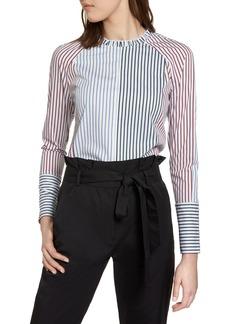 Halogen® Mixed Stripe Cotton Shirt (Regular & Petite)