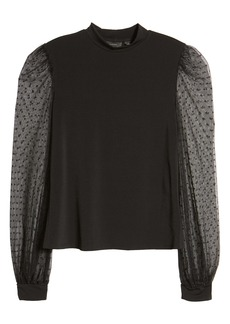 Halogen® Mock Neck Mesh Sleeve Top