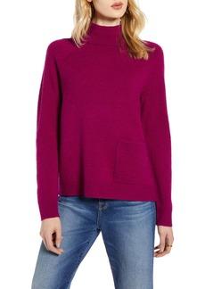 Halogen® Mock Neck Pocket Sweater