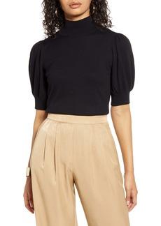 Halogen® Mock Neck Puff Shoulder Sweater