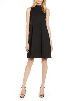 Halogen® Mock Neck Sleeveless Ponte Shift Dress