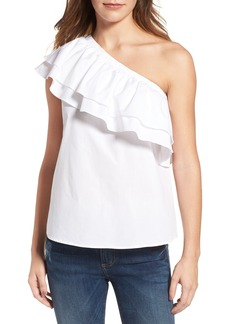 Halogen® One-Shoulder Cotton Poplin Top (Regular & Petite)