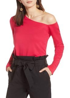 Halogen® One-Shoulder Knit Tee (Regular & Petite)