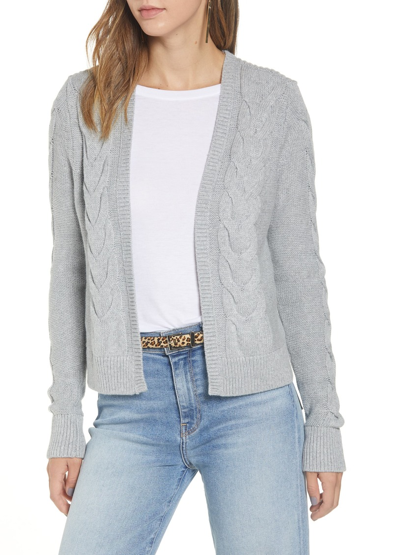 Halogen® Open Front Cable Cardigan (Regular & Petite)