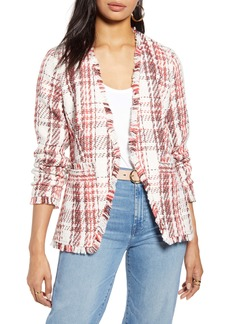 Halogen® Open Front Plaid Tweed Jacket