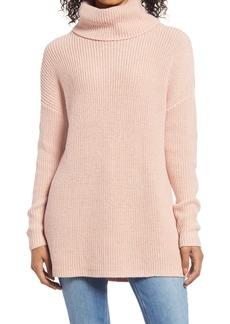 Halogen® Oversized Turtleneck Tunic Sweater (Regular & Petite)