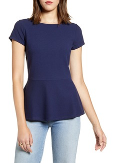 Halogen® Peplum Crepe Top